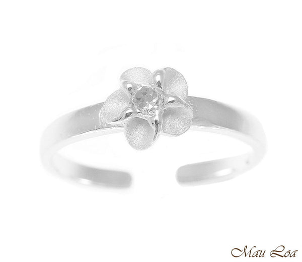 925 Sterling Silver Hawaiian Single Plumeria Flower White CZ Open Toe Ring