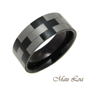 Stainless Steel Ring Wedding Band 8mm Unisex Black & Silver Checker Size 5-14