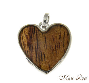 Koa Wood Hawaiian Wave 19mm Heart Rhodium Silver Plated Brass Reversible Pendant