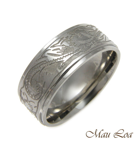 Stainless Steel Ring Band Unisex 8mm Hawaiian Plumeria Scroll Design Size 5-13