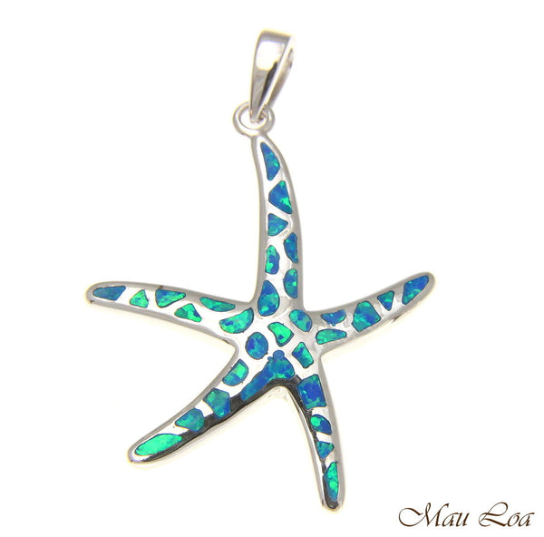 925 Silver Rhodium Hawaiian Starfish Sea Star Opal Pendant Small Medium Large