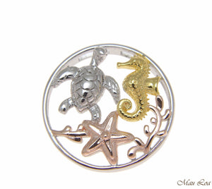 925 Silver Tricolor Hawaiian Sealife Honu Turtle Seahorse Starfish Slide Pendant