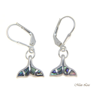 925 Sterling Silver Hawaiian Whale Tail Abalone Shell Paua Leverback Earrings