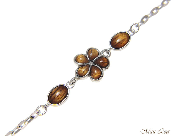 "925 Sterling Silver Rhodium Hawaiian Genuine Koa Wood Plumeria Flower Anklet 9""+"