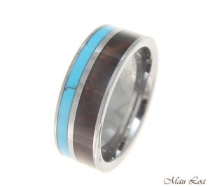 Tungsten 8mm Wedding Band Ring Turquoise Hawaiian Koa Wood Comfort Fit Size 5-14