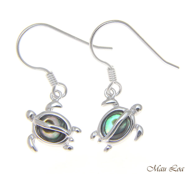 925 Sterling Silver Hawaiian Honu Sea Turtle Abalone Shell Paua Hook Earrings