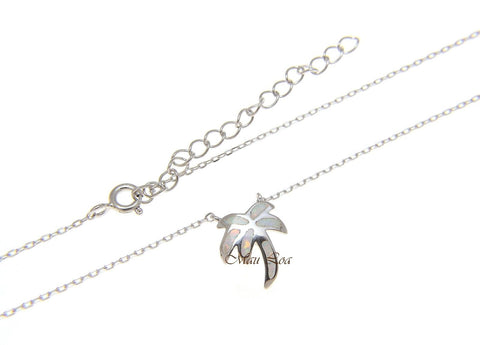 "925 Sterling Silver Hawaiian Palm Tree White Opal Necklace Chain Included 18""+2"""