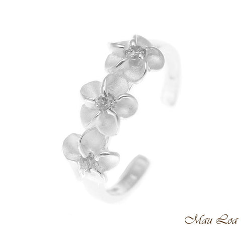 925 Sterling Silver Hawaiian Triple Plumeria Flower White CZ Open Toe Ring