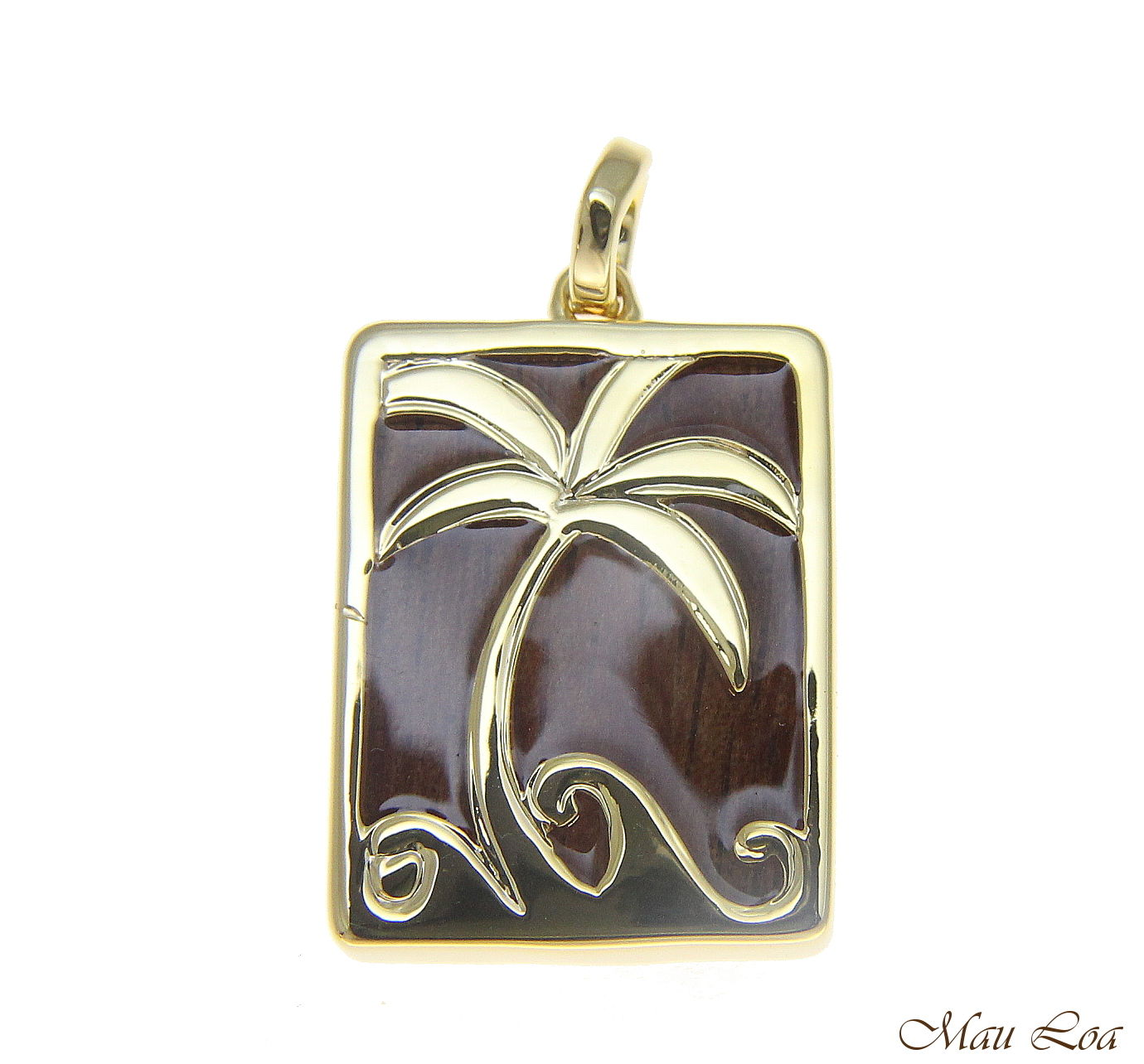 Koa Wood Hawaiian Scroll Vertical Palm Tree Yellow Gold Brass Reversible Pendant