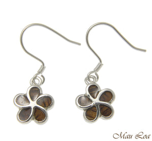 Koa Wood Hawaiian Plumeria Flower Rhodium Silver Plated Brass Hook Wire Earrings