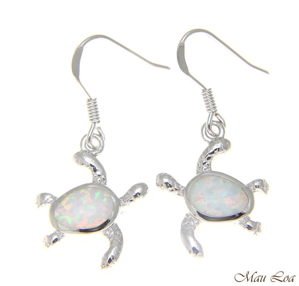 925 Sterling Silver Rhodium Hawaiian Honu Turtle White Opal Hook Wire Earrings
