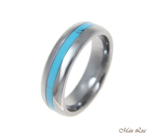 Tungsten 6mm Wedding Band Ring Unisex Blue Turquoise Inlay Comfort Fit Size 5-13