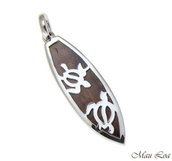 Koa Wood Hawaiian Honu Sea Turtle Surfboard Rhodium Silver Plated Brass Pendant