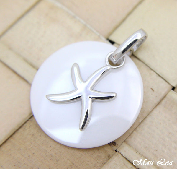 925 Silver Rhodium Hawaiian Starfish Sea Star White Ceramic Circle Round Pendant