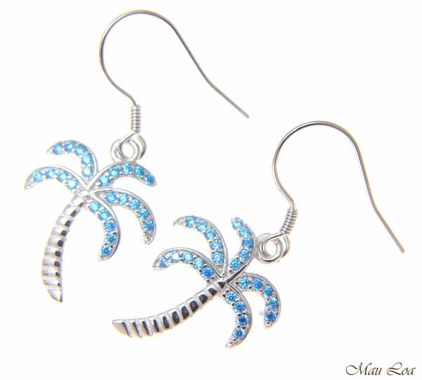 925 Sterling Silver Blue Topaz Hawaiian Palm Tree Wire Hook Earrings