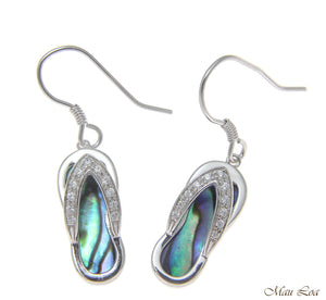 925 Sterling Silver Hawaiian CZ Slipper Abalone Shell Paua Wire Hook Earrings