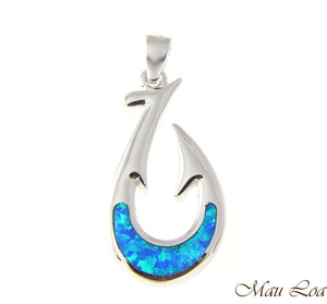 925 Sterling Silver Rhodium Hawaiian Blue Opal Fish Hook Pendant Charm