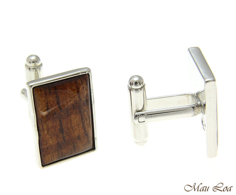 Koa Wood Hawaiian Rhodium Silver Plated Brass 14x20mm Rectangle Shape Cufflink
