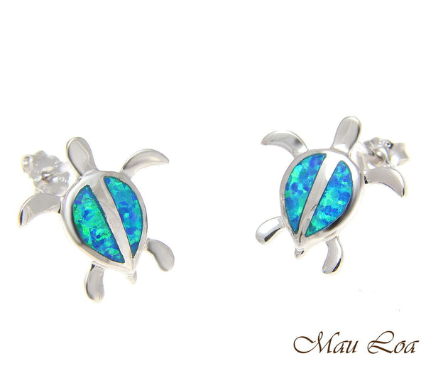 925 Sterling Silver Rhodium Hawaiian Honu Sea Turtle Opal Post Stud Earrings
