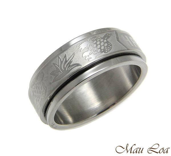 Stainless Steel Spinner Ring Band 8mm Hawaiian Turtle Honu Hawaii Size 6-14
