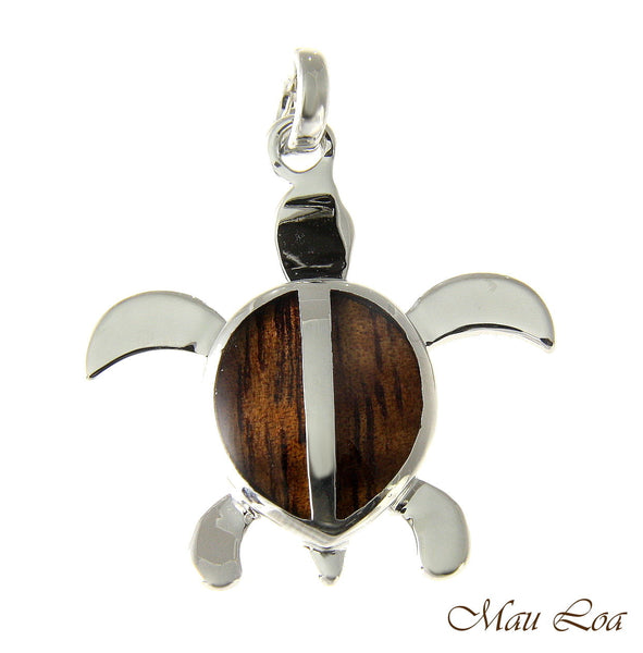 Koa Wood Hawaiian Honu Sea Turtle Rhodium Silver Plated Brass Pendant Charm