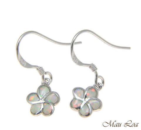 925 Silver Rhodium Hawaiian Plumeria Flower White Opal Wire Hook Earrings 8-15mm