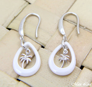 925 Silver Rhodium Hawaiian Palm Tree White Ceramic Tear Drop Hook Earrings
