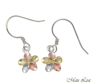 925 Silver Tricolor Plated Hawaiian Plumeria Hook Earrings No CZ Stone 8-18mm