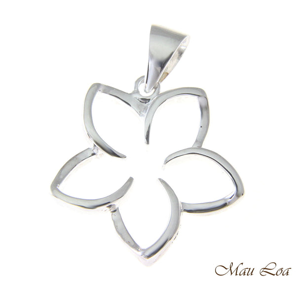 925 Sterling Silver Hawaiian Floating Outline Plumeria Flower Pendant 10-30mm
