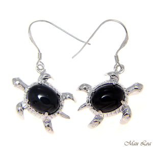 925 Silver Rhodium Hawaiian Honu Turtle Genuine Natural Black Coral Earrings
