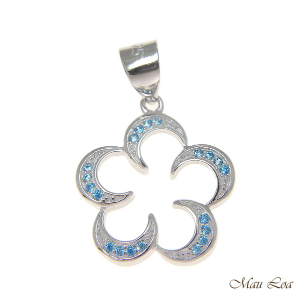 925 Silver Genuine Blue Topaz Hawaiian Floating Plumeria Flower Pendant