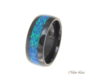 Black Ceramic 8mm Wedding Band Ring Blue Opal Inlay Comfort Fit Size 6-14