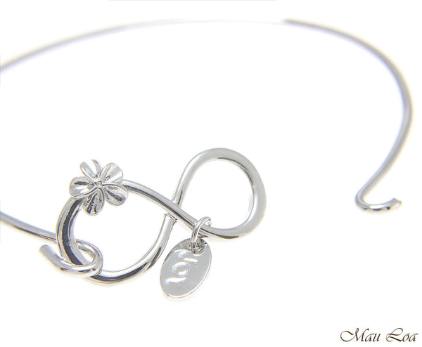 Rhodium Plated on Brass Hawaiian Infinity Plumeria Flower Open Bangle Bracelet