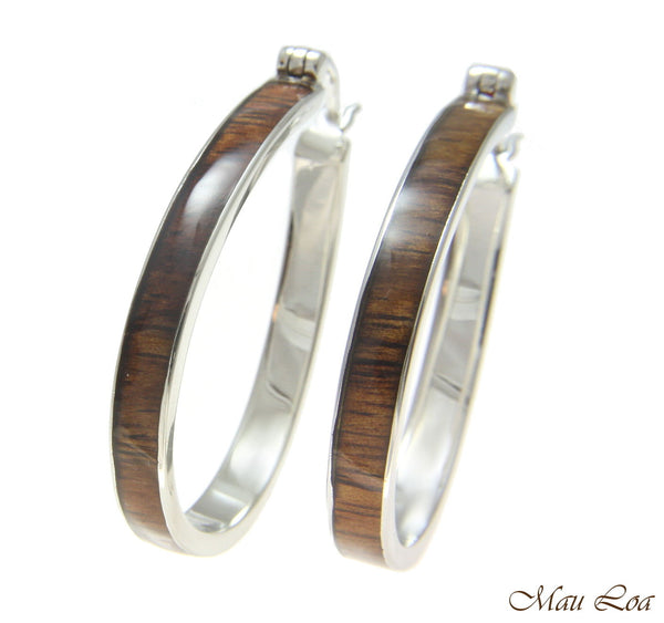 Koa Wood Hawaiian Rhodium Plated Brass 31x41mm Oval Hoop Snap Closure Earring