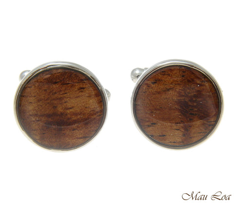 Koa Wood Hawaiian Rhodium Silver Plated Brass 16mm Circle Round Cufflink