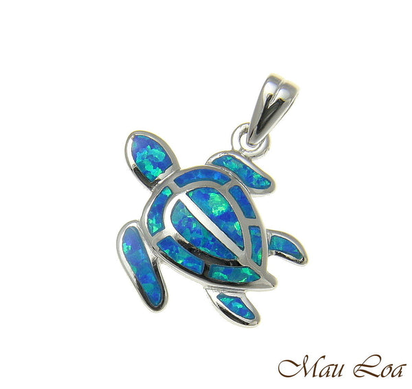 925 Sterling Silver Rhodium Hawaiian Honu Sea Turtle Blue Opal Pendant Charm