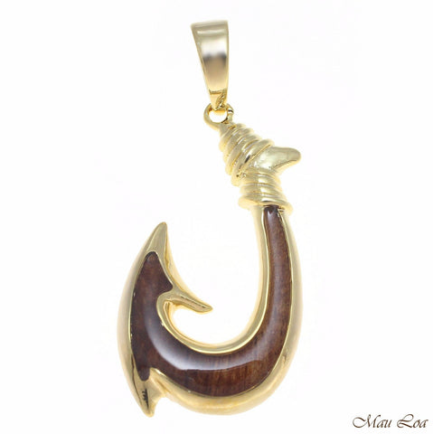Koa Wood Hawaiian Wave Fish Hook Yellow Gold Plated Brass Reversible Pendant