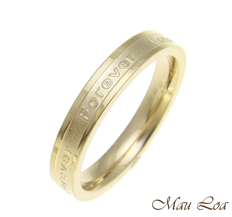 Stainless Steel Ring Wedding Band Forever 3.5mm Yellow Gold Plated Size 3-10