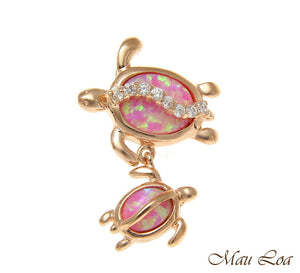 925 Silver Pink Rose Hawaiian Honu Turtle Family Mom Baby Opal CZ Slider Pendant