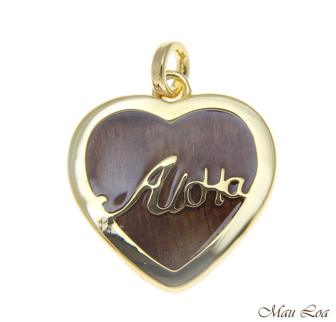 Koa Wood Hawaiian Scroll Aloha Heart Yellow Gold Plated Brass Reversible Pendant