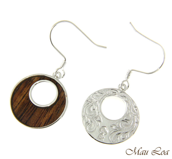 Koa Wood Hawaiian Scroll Ocean Wave Rhodium Silver Plated Brass Hook Earrings