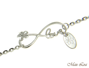 "925 Silver Rhodium Hawaiian Plumeria Flower Infinity Love Joy Chain Anklet 9""+"