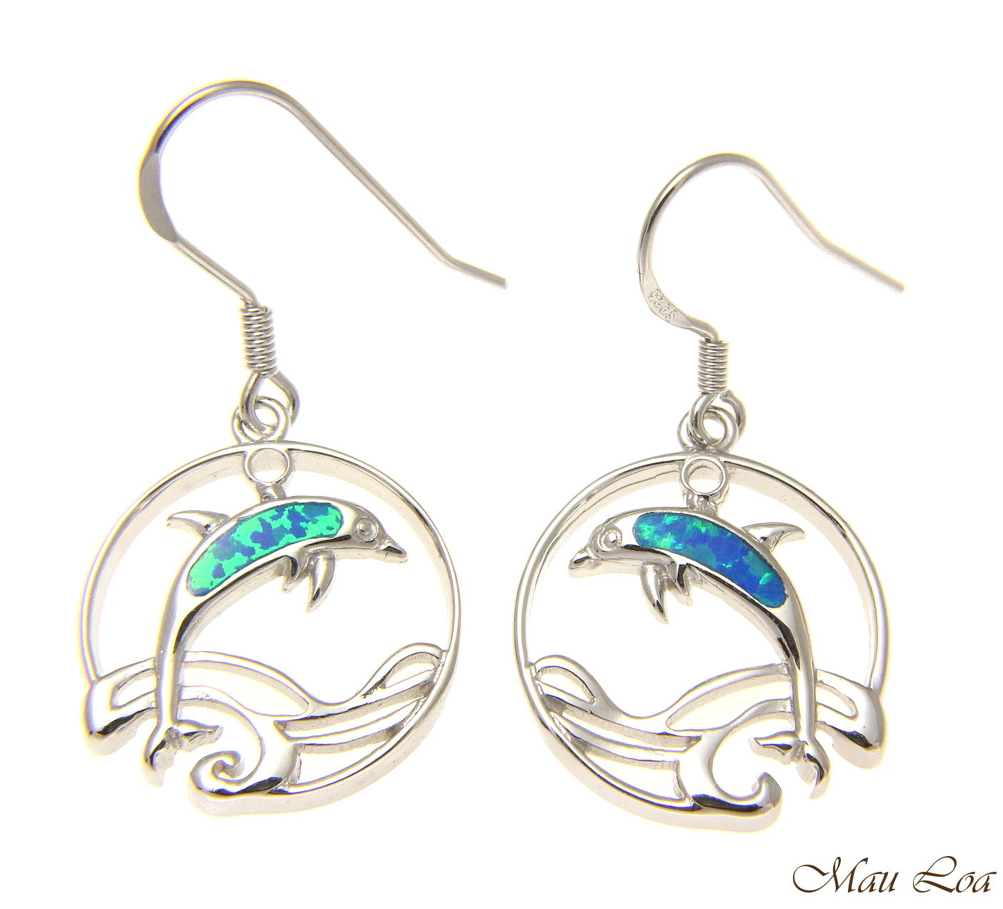 925 Sterling Silver Rhodium Hawaiian Circle Wave Dolphin Opal Hook Wire Earrings