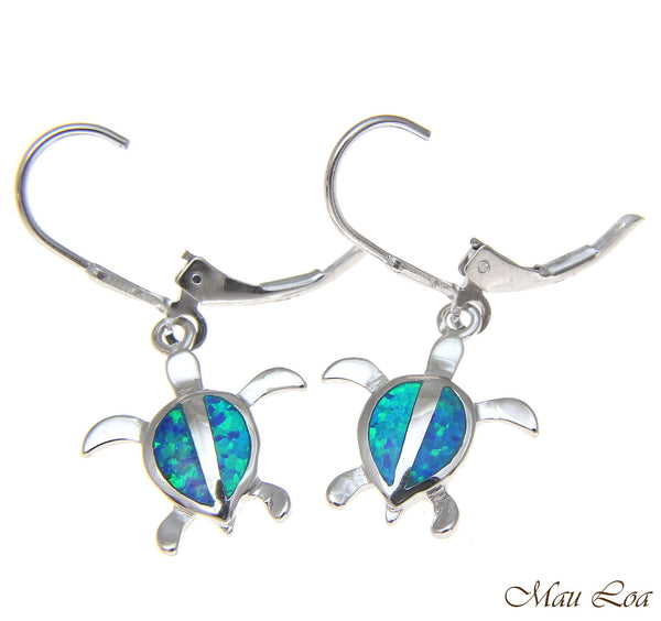 925 Sterling Silver Rhodium Hawaiian Honu Sea Turtle Opal Leverback Earrings