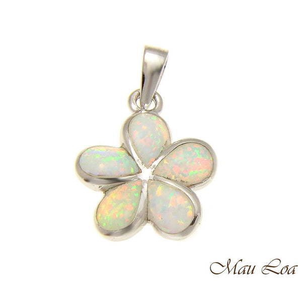 925 Sterling Silver Rhodium White Opal Hawaiian Plumeria Flower Pendant 12-30mm