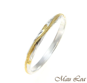 925 Silver 2 Tone Yellow Gold 2mm Hawaiian Scroll Hand Engraved Ring Band #1-9