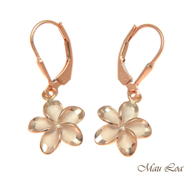 925 Silver Pink Gold Hawaiian Plumeria Flower No CZ Stone Leverback Earrings