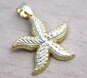 14K Yellow White Gold 2 Tone Hawaiian Jewelry Sea life Star Fish 27mm Pendant