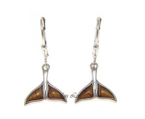 925 Sterling Silver Hawaiian Koa Wood Whale Tail Lever Back Dangle Earrings