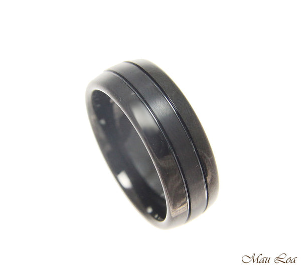 Tungsten Black 8mm Wedding Band Men's Ring Comfort Fit Size 5-14